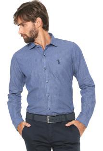 Camisa Jeans Aleatory Reta Padronagem Azul