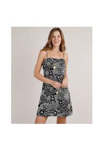 Vestido Feminino Curto Com Linho Estampado De Tucanos Alças Finas Preto