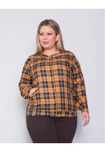 Jaqueta Bomber Plus Size Palank Omg Feminina - Feminino-Amarelo