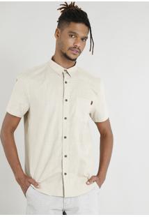 Camisa Masculina Manga Curta Com Bolso Kaki