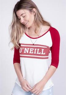 Camiseta O'Neill Feminina Manga Longa Raglan Estampada Logo Feminino - Feminino-Vinho