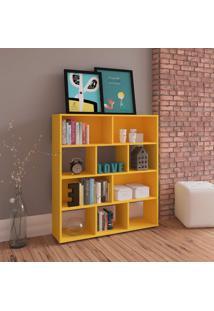Estante Para Livros Com 10 Nichos Artely Amarelo