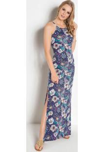 Vestido Longo Cashmere E Floral Com Fenda