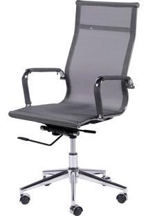 Cadeira Office Eames Tela Alta Giratória Cinza Or Design