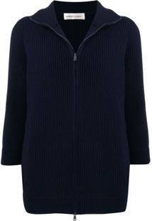 Lamberto Losani Zip-Front Ribbed Knit Cashmere Cardigan - Azul