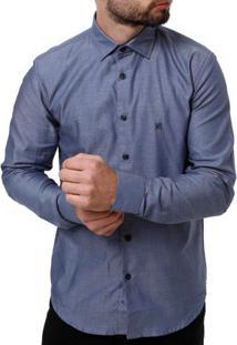 Camisa Manga Longa Masculina Elétron Azul