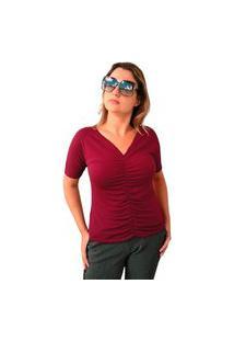 Blusa Básica Frisada Com Decote V