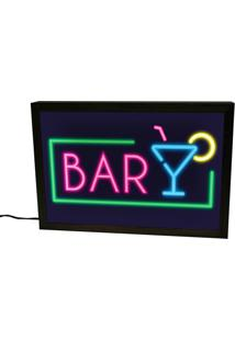 Luminária Lightbox Neon Preta Bar Prolab Gift