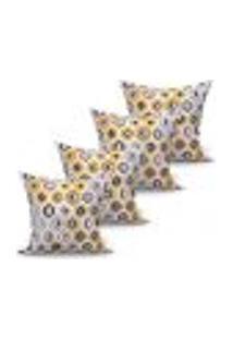 Conjunto De Capas Para Almofada Com 4 Peças Turtle Cinza E Amarelo 60X60 Cm