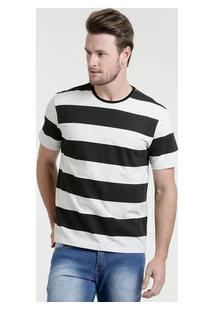 Camiseta Masculina Listrada Manga Curta Marisa