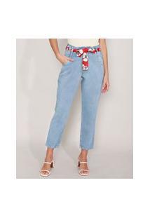 Calça Mom Jeans Com Lenço Estampado Floral Cintura Super Alta Azul Claro