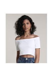 Blusa Feminina Cropped Em Ombro A Ombro Manga Curta Branco
