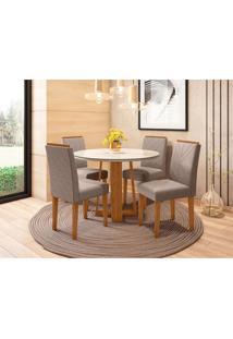 Conjunto De Mesa De Jantar Com Tampo De Vidro Isabela E 4 Cadeiras Amanda Veludo Linho Carrara E Cinza