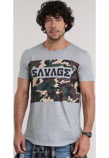 "Camiseta ""Savage"" Com Estampa Camuflada Cinza Mescla"