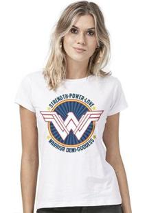 Camiseta Bandup Wonder Woman Warrior Demi Goddess - Feminino-Branco