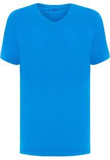 Camiseta Masculina Gola V - Azul