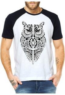 Camiseta Raglan Criativa Urbana Coruja Tribal - Masculino-Branco