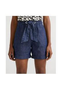 Bermuda Clochard Jeans Com Cós Elástico E Amarração
