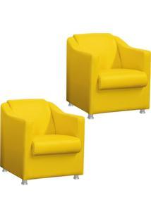 Kit 02 Poltronas Decorativa Para Sala E Escritório Tilla Corino Amarelo - Ds Móveis - Tricae