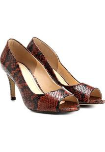 Peep Toe Shoestock Snake - Feminino