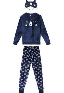 Pijama Azul Marinho Ursinho Adulto