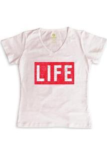 Camiseta Feminina Gola V Cool Tees Revista Life Magazine - Feminino-Rosa