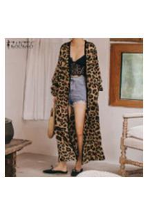 Casaco Feminino Com Estampa De Leopardo Zanzea Jaquetas Compridas Para Férias De Verão Tops De Blusa Solares