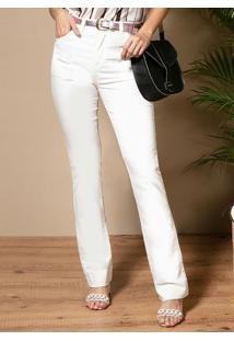 Calça Jeans Off White Reta Com Bolsos