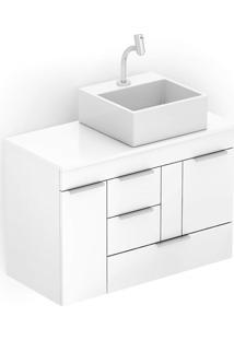 Gabinete Para Banheiro Em Mdf Com Cuba Quadrada Basic 80X38Cm Branco