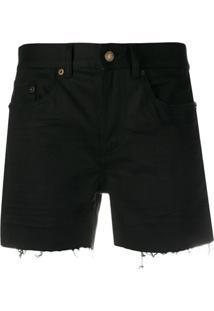 Saint Laurent Short Jeans Destroyed - Preto