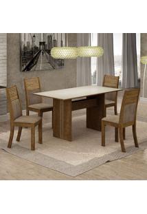 Conjunto De Mesa De Jantar Florença I Com 4 Cadeiras Havaí Suede Off White E Cappuccino