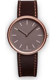 Uniform Wares Relógio 'M35 Two-Hand' De Couro E Aço Inoxidável - Marrom