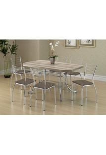 Conjunto Mesa 1507 Nogueira Cromada Com 6 Cadeiras 1700 Camurça Conhaque Carraro