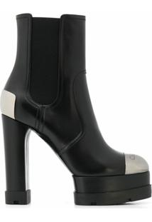 Casadei Ankle Boot City Rock Com Plataforma De 130Mm - Preto