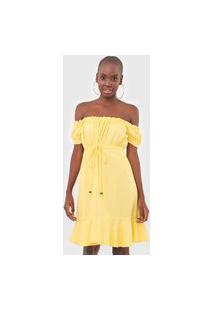 Vestido Mercatto Curto Ombro A Ombro Amarelo