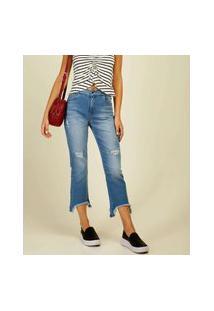 Calça Jeans Destroyed Capri Feminina Sawary