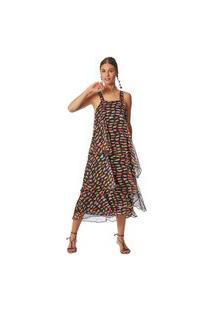 Vestido Maria Valentina Midi Decote Quadrado Com Amarração Preto