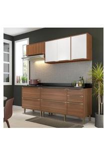Cozinha Modulada Multimóveis 5459 Calábria 5 Peças Nogueira/Branco