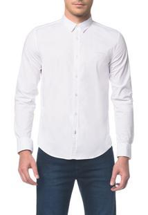 Camisa Slim Ml Micro Listrada Fio 60 - Branca E Azul Claro - 3