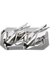 Conjunto De Saleiro E Pimenteiro Origami- Prateado- Lyor