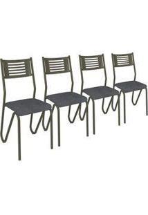 Kit 4 Cadeiras Napoles Noce Estrutura Metal Kappesberg 4C045 Preto Linho Cinza
