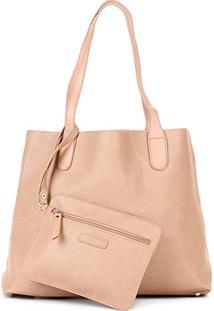 Bolsa Shoestock Shopper Textura Feminina - Feminino-Bege