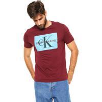 091b43ae4ad3e Camiseta Calvin Klein Jeans Lettering Bordô