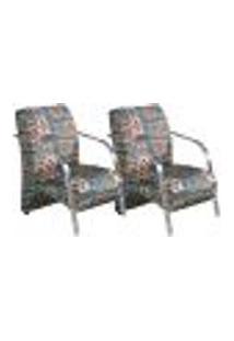 Conjunto De 2 Poltronas Sevilha Decorativa Braço De Alumínio Cadeira Para Recepção, Sala Estar Tv Espera, Escritório, Vários Ambientes - Poliéster Estampado 310