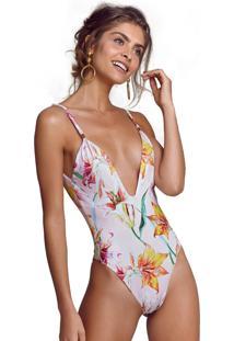 Body Empress Brasil Meghan Estampa Lily Floral - Estampado/Floral/Rosa - Feminino - Poliã©Ster - Dafiti