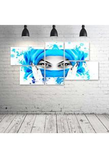Quadro Decorativo - Face-Girls-Art - Composto De 5 Quadros - Multicolorido - Dafiti