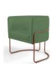 Poltrona Decorativa Fixa Base De Aço Cobre Betina D02 Linho Verde B-232 - Lyam Decor