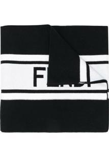 Fendi Echarpe Listrada Com Logo Contrastante - Preto