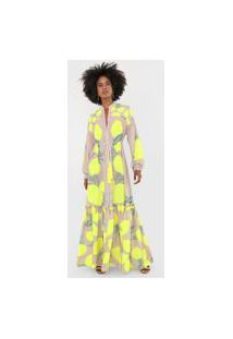 Vestido Lança Perfume Longo Limões Neon Bege/Amarelo