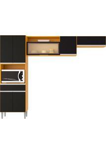 Cozinha Compacta 7 Portas E 1 Gaveta Vanessa-Poquema - Damasco / Preto